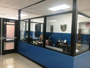 DeKalb Middle School Receives Major Facelift Over Summer Break to make the building more convenient and secure including new receptionist office.