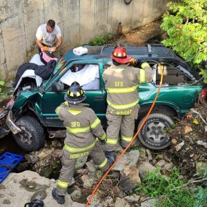 Members of the Smithville Volunteer Fire Department and extrication and rescue team helped Rickey Hall from the vehicle. He was taken by ambulance to Erlanger Hospital in Chattanooga. (Jim Beshearse Photo)