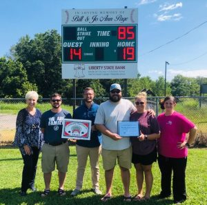 Chamber Presents Community Improvement Award to Bill Page Ball Park. Pictured l-r: Chamber Director Suzanne Williams with Church League Volunteers Daniel Leslie, Jonathan Anderson, Jordan Atnip, Morgan Atnip, and Rebecca Waggoner
