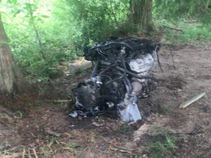 The engine of the car dislodged upon impact.