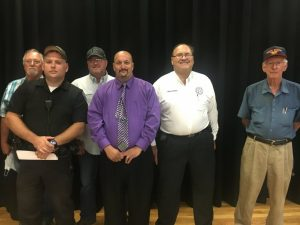 Constables left to right: Waylon Kyle (1st district), Travis Bryant (3rd district) Jason Brown (6th district), Darrell Johnson (2nd district), Mark Milam (5th district), and Paul Cantrell (4th district). 7th district Constable Johnny King absent
