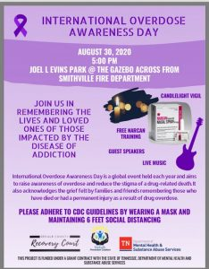 The DeKalb Prevention Coalition is calling on everyone to join in the observance of International Overdose Awareness Day on Sunday, August 30 at 5 p.m. at the Joe L. Evins Park at the Gazebo across from the Smithville Fire Department