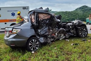 22 year Keley Roller of McMinnville lost her life in a three vehicle crash Friday afternoon on Highway 70 at Liberty. According to the Tennessee Highway Patrol, Roller was in a 2013 Honda Civic (shown here) when her car crossed the turn lane and struck a 2000 Chevy Silverado pickup truck, driven by 69 year old William (Junior) Bell. 88 year old Jenelle Pugh of Dowelltown was a passenger with Bell. Roller's car then spun into an eastbound 1996 Dodge Ram pickup truck driven by 69 year old Jerry Dutton of Liberty. (Jim Beshearse Photo)