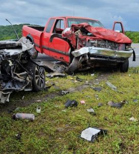 22 year Keley Roller of McMinnville lost her life in a three vehicle crash Friday afternoon on Highway 70 at Liberty. According to the Tennessee Highway Patrol, Roller was in a 2013 Honda Civic (shown here) when her car crossed the turn lane and struck a 2000 Chevy Silverado pickup truck, driven by 69 year old William (Junior) Bell. 88 year old Jenelle Pugh of Dowelltown was a passenger with Bell. Roller's car then spun into an eastbound 1996 Dodge Ram pickup truck (shown here) driven by 69 year old Jerry Dutton of Liberty. (Jim Beshearse Photo)