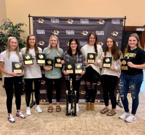Members of the 2019-20 DeKalb County High School Lady Tigers Basketball Team , who were unable to have their awards banquet in the spring due to COVID-19, were later recognized for their athletic accomplishments last season. Mya Ruch (center) received the Allen D. Hooper Most Valuable Player Award presented by Love-Cantrell Funeral Home. She also earned team awards for Best Passer, Best Defender, and Best Ball Handler. Other Lady Tiger Award Winners pictured left to right: Megan Cantrell- Best 6th Man; Kalee Ferrell- Best Rebounder, Best Offensive Player, and Hustle Award; Emme Colwell-Best Free Throw Shooter, MVP Mya Ruch, Kenzie France-Best Attitude, Megan Walker-Toughest Player, and Grace Griffin-Most Improved