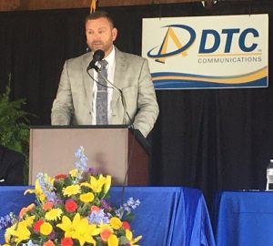 Chris Townson, CEO of DTC Communications, speaking during Saturday's annual meeting