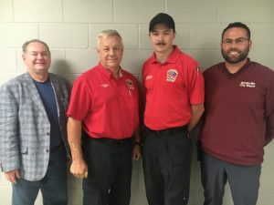 Dalton Roberts (second from right) Hired to Fill City Fire Department's Newly Created Full Time Position. Pictured with Alderman and Police and Fire Department Commissioner Shawn Jacobs (far left), Fire Chief Charlie Parker, and Mayor Josh Miller.