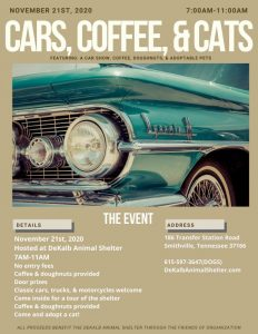 """Friends of the DeKalb Animal Shelter invite you to a """"Cars, Coffee, & Cats"""" benefit on Saturday, November 21 from 7 to 11 a.m."""