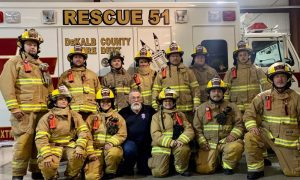 """2020 Basic Firefighting Class Pictured back row from left to right: Charles Adcock, Keith Carter, Dakota Nokes """"Smithville Fire Department"""", Neil Vogelar, Dan Bradam, Peyton Taylor, Caleb London. Front row from left to right: Cheyenne Phalin, Alyssa Harvey, Marvin Montgomery """"instructor"""", Vicki Bradam, Erick Dodd, and Neal Caldwell"""