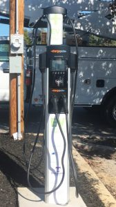 Smithville's first ever electric vehicle charging station was installed Monday located at the city parking lot across from Love-Cantrell Funeral Home.