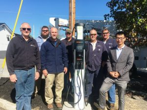 Smithville's first ever electric vehicle charging station was installed Monday located at the city parking lot across from Love-Cantrell Funeral Home. Lead project infrastructure partner Seven States Power Corporation managed the installation in cooperation with Smithville Electric System and Tennessee Tech University. PICTURED LEFT TO RIGHT: Richie Knowles (Smithville Electric System Manager), Jeremy Ashburn (SES employee), Brad Rains( Director of DER Deployments with the Chattanooga based Seven States Power Corporation), Keith Randolph, Kevin Martin, and Eddie Rowland (SES employees) and Tennessee Tech Mechanical Engineer Assistant Professor Pingen Chen