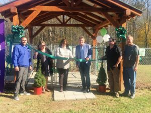 Ribbon Cutting held in November to mark Grand Opening of Smithville's new Dog Park. Pictured left to right: Mayor Josh Miller, Alderman Jessica Higgins, former Alderman/City Judge Gayla Hendrix, Randy Boyd of the Boyd Foundation which funded the park through a $25,000 grant, City Administrator Hunter Hendrixson, and City Public Works Director Kevin Robinson.