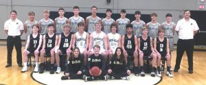The DCHS Tiger Basketball Team: Front Row- Managers (left to right) Summer Pedigo, Brayden Summers, Courtney London (Not Pictured Aiden Whitman) Middle Row left to right: Andrew Tramel, Alex Antoniak, Kaleb Spears, Luke Jenkins, Evan Jones, Aidan Curtis, Marquez Chalfant, Conner Close, Jacob Hendrix Back Row left to right: Coach John Sanders, Nathaniel Crook, Jordan Young, Zack Birmingham, Robert Wheeler, Isaac Brown, Stetson Agee, Connor Paladino, Brayden Antoniak, Elishah Ramos, Connor Vance, and Assistant Coach Logan Vance (Not Pictured Ian Colwell)