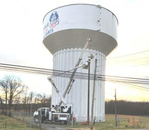 The City of Smithville now has sirens installed at three specific locations to alert the community in the event of a tornado threat. The one shown here was erected on a pole at the city water tank near the high school on Highway 70 Tuesday. Another siren was placed on a pole near the city's water tank on Miller Road. The existing siren on top of city hall has also been wired into the alert system.