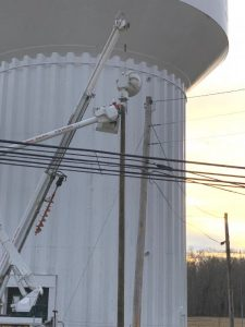The City of Smithville now has sirens installed at three specific locations to alert the community in the event of a tornado threat and a test of those sirens was conducted Wednesday, December 30. The one shown here was erected on a pole at the city water tank near the high school on Highway 70 Tuesday.