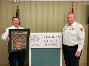 The DeKalb County Fire Department recognized and honored a few of its own during the annual awards program held Saturday evening in a virtual setting this year due to COVID-19. Lieutenant Dustin Johnson (pictured left) for the 3rd year captured the Liberty State Bank Officer of the Year honor.