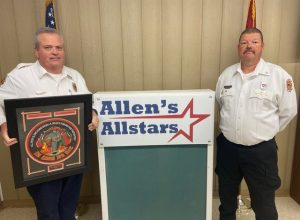 """The DeKalb County Fire Department recognized and honored a few of its own during the annual awards program held Saturday evening in a virtual setting this year due to COVID-19. Lieutenant Blake Cantrell (pictured left) was selected to receive the Allen's Allstars """"Git R Done"""" Award."""