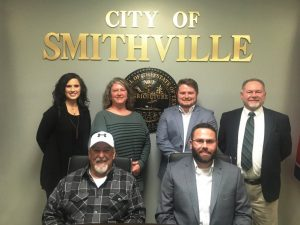 Smithville Mayor and Aldermen. Seated left to right: Alderman Danny Washer and Mayor Josh Miller. Standing left to right: Aldermen Beth Chandler, Jessica Higgins, Brandon Cox, and Shawn Jacobs
