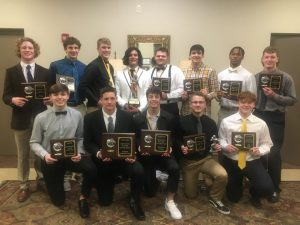 DCHS Tiger Football Banquet Team Award Winners: Pictured bottom row left to right- Silas Cross, Isaiah Harrington, Desmond Nokes, Jasper Kleparek, and Ari White. Back row left to right- Isaac Knowles, Aiden Curtis, Evan Jones, Axel Aldino, Caven Ponder, Wil Farris, Trevonte Alexander, and Colby Barnes.