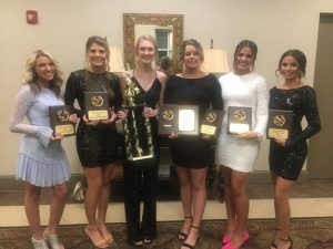 2020 DCHS Tiger Football Cheerleader Award Winners pictured left to right: Best Stunts-Hannah Trapp, Best Dancer- Keirstine Robinson, Most Valuable Cheerleader- Talon Billings, Best Cheer and DEAR (Dedication, Enthusiasm, Attitude, and Responsibility-Presley Agee, Best Jumps-Addison Puckett, and Most Spirited- Sadie West