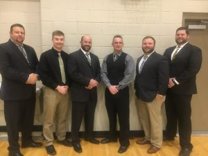 2020 DCHS Tiger Football Coaching Staff pictured left to right: Assistants Brad Trapp, Luke Green, and Michael Shaw, Head Coach Steve Trapp, and Assistants Corey Rathbone and Thomas Cagle. Coach Trapp was the Region's Coach of the Year while members of his staff earned the following region honors: Offensive Assistant Coach Michael Shaw, Defensive Assistant Coach Thomas Cagle, and Special Teams Coach Corey Rathbone.