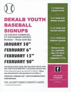 DeKalb Youth Baseball Signups