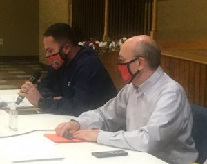 Smithville Mayor Josh Miller and County Mayor Tim Stribling preside over Tuesday night workshop with aldermen, county commissioners, and representatives of the DeKalb Animal Coalition
