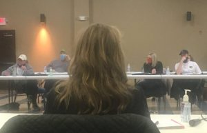 County Commissioners Julie Young Jeff Barnes, Beth Pafford (with back to camera) Jenny Trapp, and Shaee Flatt during the Tuesday evening workshop discussion about the operation of the DeKalb Animal Shelter