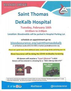 DeKalb County Blood Assurance Drive Tuesday, February 16