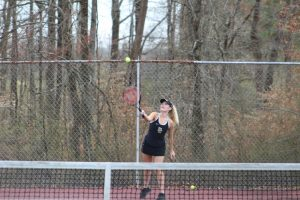Both the Boys and Girls DCHS tennis teams won their matches against White County at home on Tuesday afternoon. The boys won their match 7 – 2 while the girls won 6 – 3. Tennis matches consist of six singles matches and three doubles matches. Caitlyn Harwell shown here won 8-4