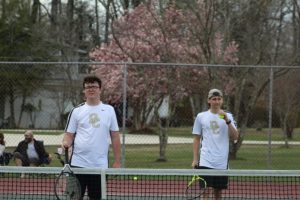 Both the Boys and Girls DCHS tennis teams won their matches against White County at home on Tuesday afternoon. The boys won their match 7 – 2 while the girls won 6 – 3. Tennis matches consist of six singles matches and three doubles matches. Garret Hayes and Levi Driver shown here won 8-0