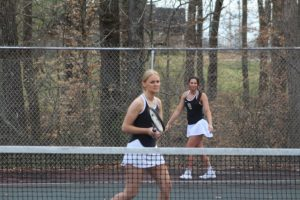 Both the Boys and Girls DCHS tennis teams won their matches against White County at home on Tuesday afternoon. The boys won their match 7 – 2 while the girls won 6 – 3. Tennis matches consist of six singles matches and three doubles matches. Katie Colwell & Leah Davis shown here lost 2-8