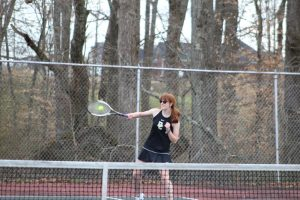 Both the Boys and Girls DCHS tennis teams won their matches against White County at home on Tuesday afternoon. The boys won their match 7 – 2 while the girls won 6 – 3. Tennis matches consist of six singles matches and three doubles matches. Summer Morse shown here won 8-1