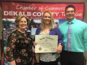 DeKalb County Clerk James L.(Jimmy) Poss and one of his employees, Judy Miller-Mcgee are now certified county finance officers after recently completing a course offered by the University of Tennessee Institute for Public Service's County Technical Assistance Service (CTAS). Pictured with CTAS CCFO training consultant Kelley McNeal (center)