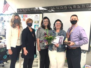 The 2021 Smithville Elementary School Teacher of the Year is second grade educator Janet Trapp . Pictured left to right Supervisor of Instruction (grades 6-12) Dr. Kathy Bryant ; Supervisor of Instruction (Pre-K to 5th grade) Michelle Burklow, SES Principal Summer Cantrell; SES Teacher of the Year Janet Trapp; and Director of Schools Patrick Cripps