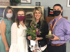 The 2021 DeKalb Middle School Teacher of the Year is eighth grade ELA (English Language Arts) teacher Galen Brown. Pictured left to right DeKalb Middle School Assistant Principal Anita Puckett and DMS Principal Lacey Foutch; DMS Teacher of the Year Galen Brown; and Director of Schools Patrick Cripps