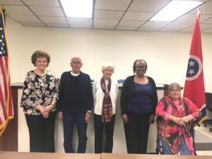 Members of the DeKalb County Election Commission: left to right- Barbara Vanatta, Jim Dean, Chairman Walteen Parker, Yvette Tubbs Carver, and Secretary Kim Luton