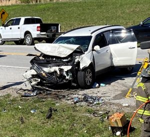 2015 Chevy Traverse driven by 39 year old Eric D. Fish of Smithville involved in crash Monday on Highway 56 near Silver Point in DeKalb County. Fish and passengers 40 year old Janet Fish and 20 year old Derek Fish were injured.
