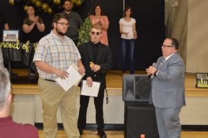 DCHS Senior Victor Luna took home the highest honor at the annual band banquet May 1. Assistant Director Don Whitt presented Luna with the prestigious John Philip Sousa Award for Academic and Skillful Musicianship as a Senior. Luna is the son of Band Director Tracy Luna and Laura Luna,