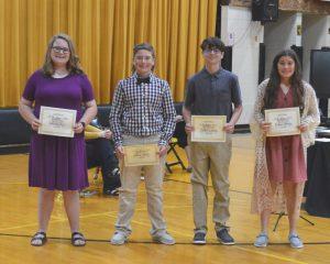 DeKalb West School A/B Honor Roll Recipients: (Left to right): Lauren Fry, Wesley Kent, Caleb Lawson, and Bryna Pelham