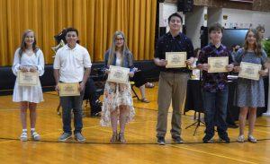 DeKalb West School Principal's List (All A Honor Roll): Left to right: Caroline Crook, Thomas Damron, Chloe Dies, Kenson Moss, Bradley Pelham, and Emily Young