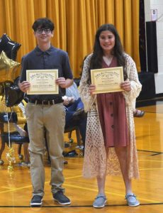 DeKalb West School's Caleb Lawson (left) won the Math award in Mr. Antoniak's homeroom while Bryna Pelham (right) won the Math award in Mrs. France's homeroom.