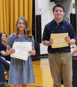 DeKalb West School's Emily Young (left) won Subject Awards in ELA, History and Science in Karen France's homeroom. Kenson Moss (right) won Subject Awards in Algebra I, ELA and History in Sean Antoniak's homeroom.
