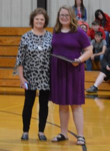 Lauren Fry was presented with the Mrs. Georgia Young Award in memory of the late DWS Cafeteria Manager. Young's daughter Sherry Williams made the presentation