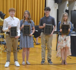 DeKalb West School Citizenship Award winners (left to right) Noah Shoffner, Emily Young, Caleb Lawson, and Chloe Dies