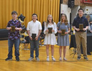 DeKalb West School Highest Grade Point Averages for Grades 6th-8th: (Left to Right): Bradley Pelham, Thomas Damron, Caroline Crook, Emily Young, and Kenson Moss