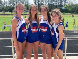 The Warren County women's 4x800 meter relay team: Ella VanVranken, Cadee Griffith, Katie Toney, and Emma Randall.