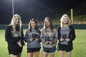 Four members of the DCHS Tigerette Fast Pitch Softball Team have earned All-District Awards. Morgan Walker, Aniston Farler, and Jacey Hatfield have been named to the All-District Team and Hatfield made the All-District Tournament Team. Bri Murphy was selected to the All District Freshmen Team. The Tigerettes were eliminated from the District Tournament last week and finished the season at 13-13. Pictured left to right: Bri Murphy, Morgan Walker, Aniston Farler, and Jacey Hatfield.