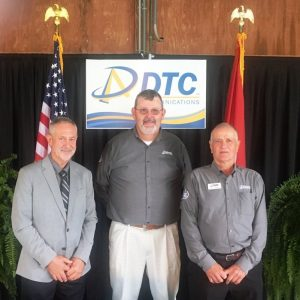"""Three members of the DTC Communications Board of Directors were re-elected to new three years terms without opposition Saturday during the annual membership meeting of DeKalb Telephone Cooperative in Alexandria. Randy Campbell (Pictured right) of the Liberty Exchange received 70 votes while Ronnie Garrison (center) of the Smithville Exchange and Bennie """"Buck"""" Curtis (left) of the Alexandria Exchange each had 67 votes."""