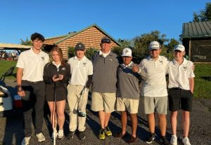The DeKalb County High School Golf Team competed in the AA District 7 Golf Tournament held at Bear Trace Golf Course in Crossville, Tennessee Thursday, September 23. Left to right: Owen Snipes, Alison Poss, Brayden Summers, Coach John Pryor, Captain Adan Ramirez, Ty Panker, and Braden Sprague
